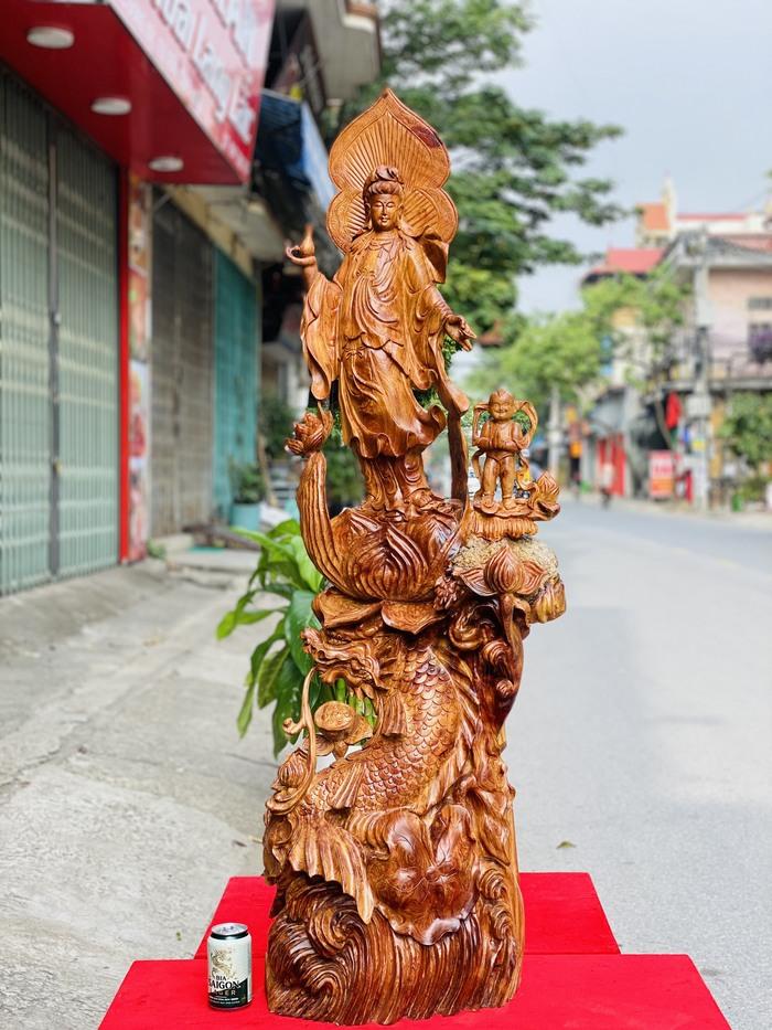 6 Tượng Phật Bà Dứng Long Ngư Gỗ Hương Ta Cao 1m4 1
