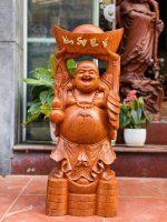Di Lặc Dâng Vàng Gỗ Hương Dá Cao 80cm 1 600x800